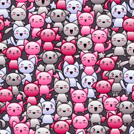 аниме: Бесшовные шаблон с милой Kawaii каракули кошек Иллюстрация
