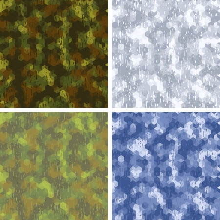 Seamless stylized camouflage patterns with hexagons  Illustration