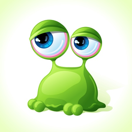 Vector cute green monster isolated on white background  Vector