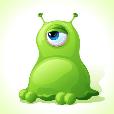 ameba: Vector lindo monstruo verde aislado sobre fondo blanco