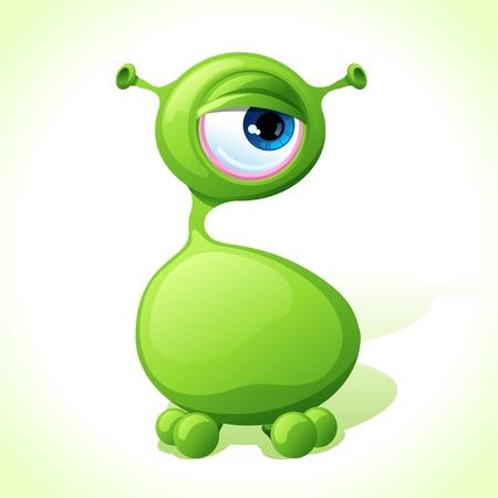 amoeba: Vector cute mostro verde isolato su sfondo bianco