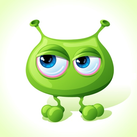computer virus: cute green monster isolated on white background  Illustration