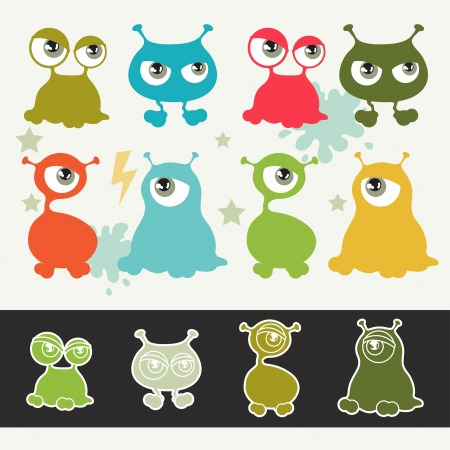Collection of cute cartoon little monsters  Vector
