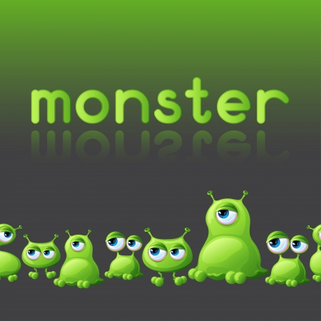Abstract background with cute monsters  Vector