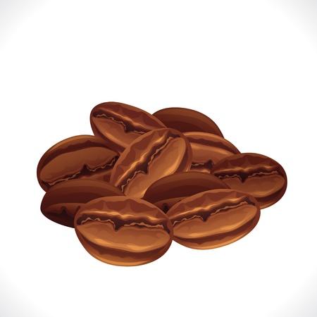 grano de cafe: Los granos de caf� aislados en el fondo blanco