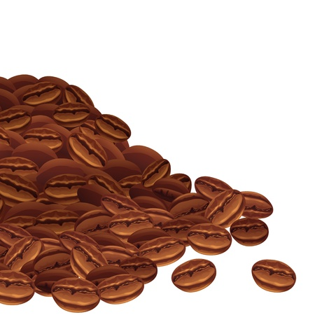 bulk: Vector background with scattered coffee beans