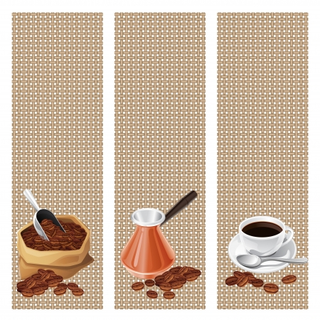 coffee sack: Banners with the turk, bag and  cup of coffee
