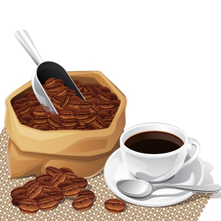 fresh produce: Background with cup and bag of coffee beans