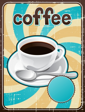 Poster with a coffee cup in retro style Stock Vector - 18767490