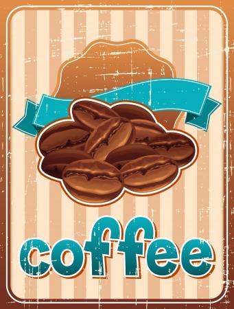 chicchi di caff�: Poster con chicchi di caff� in stile retr� Vettoriali
