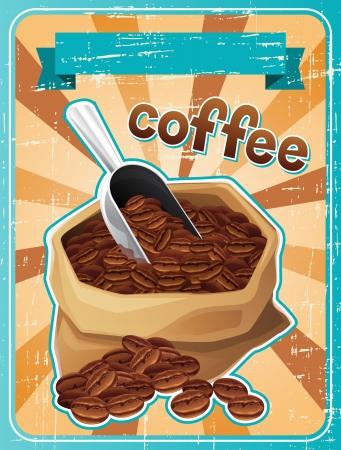 coffee beans: Cartel con una bolsa de granos de caf� en estilo retro