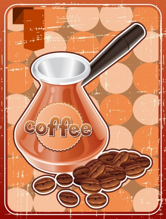 Poster with metal turk and coffee beans in retro style  Stock Vector - 18767497