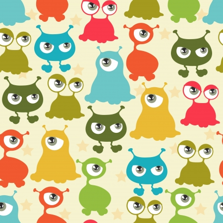 Abstract seamless pattern with cute monsters  Stock Vector - 18767483