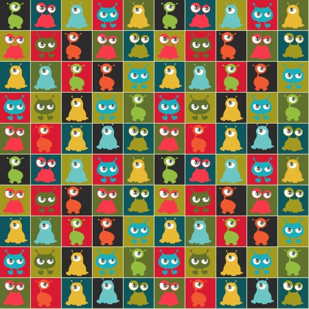 Abstract seamless pattern with cute monsters  Vector
