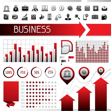 Set of infographics and business icons  Stock Vector - 18844562