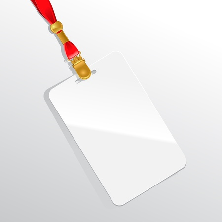 neckband: Blank badge on a red neckband