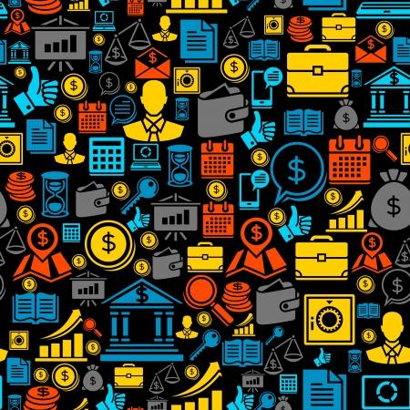 Jednolite wzór z ikon biznesu Ilustracje wektorowe
