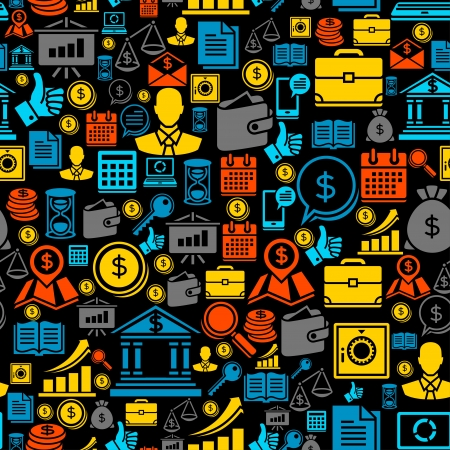 Seamless pattern of the business icons