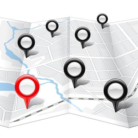 elhelyezkedés: Elvont térkép fényes markerek
