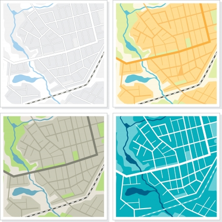 road position: Set of 4 abstract maps