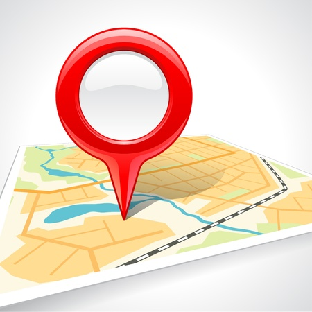 global navigation system: Abstract map with glossy markers