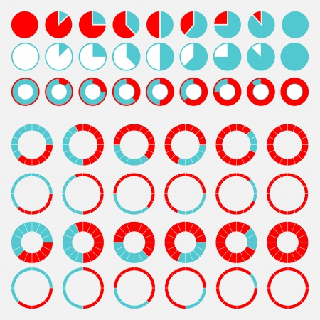 Set of brightly colored pie charts