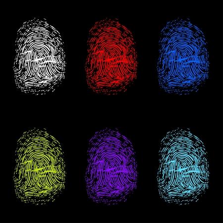 green thumb: Set of color fingerprints on black background