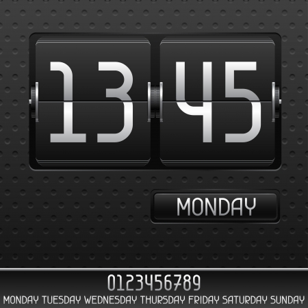 Mechanical flip clock with date. Vector