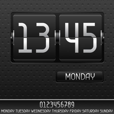 flipboard: Mechanical flip clock with date. Illustration