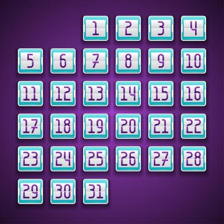schedule system: Mechanical scoreboard numbers calendar. Illustration