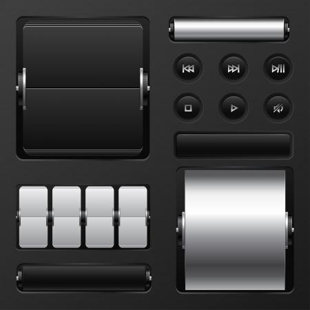 Set von Web-Elemente mechanische Anzeigetafel und Tasten.
