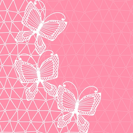 Lace background with butterflies  Vector