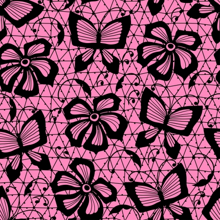 pink and black: Seamless lace pattern with butterflies and flowers  Illustration