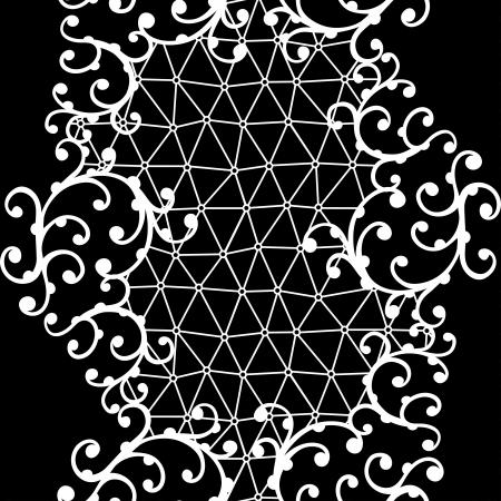 trabajo manual: Patr�n de encaje transparente con adornos florales Vectores