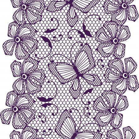 trabajo manual: Patr�n de encaje transparente con mariposas y flores Vectores