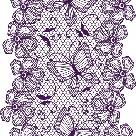 lace fabric: Seamless lace pattern with butterflies and flowers  Illustration