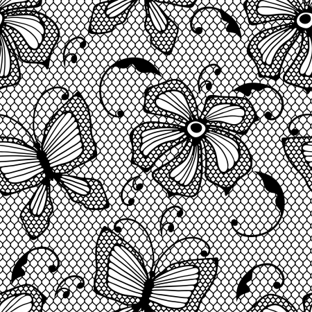 fabric swatch: Seamless lace pattern with butterflies and flowers  Illustration
