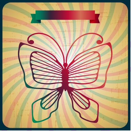 butterfly stationary: Retro poster with butterfly on old scrach background  Illustration