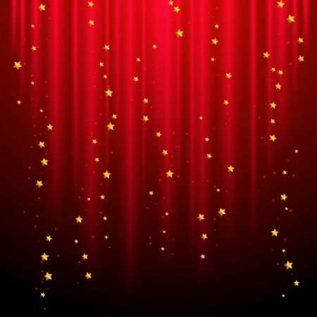 circus stage: Abstract red background with shooting stars  Illustration