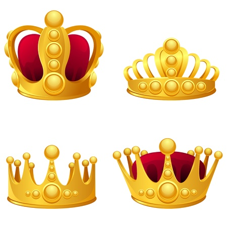 queen crown: Set of gold crowns isolated  Illustration