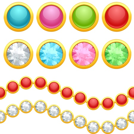 gemstone jewelry: Set of round jewelery buttons and seamless chain