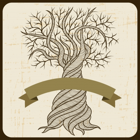 texture twisted: Retro card with abstract curling tree
