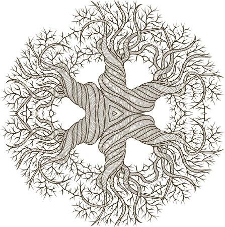 Circular de adorno de árbol abstracto con que se encrespa del barril