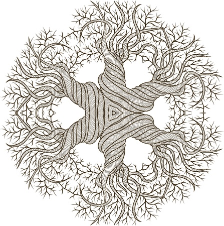 Circular ornament from abstract tree with curling barrel  Vector