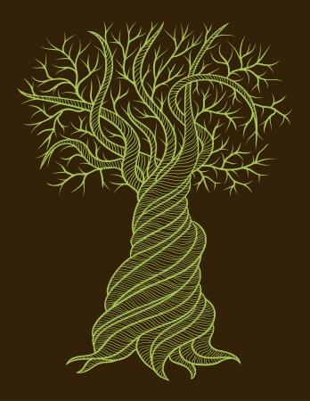 カーリング バレルと抽象的な木