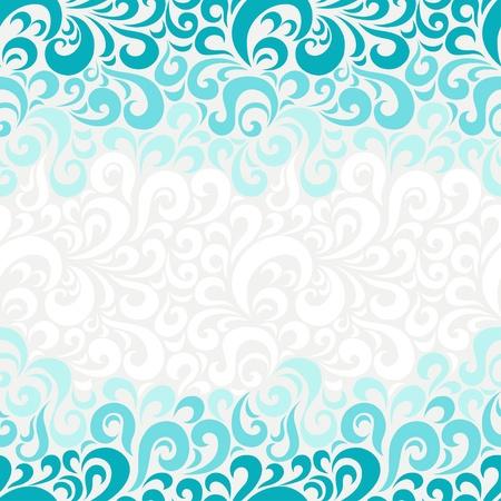 アクアマリン: 抽象的なシームレスな花柄