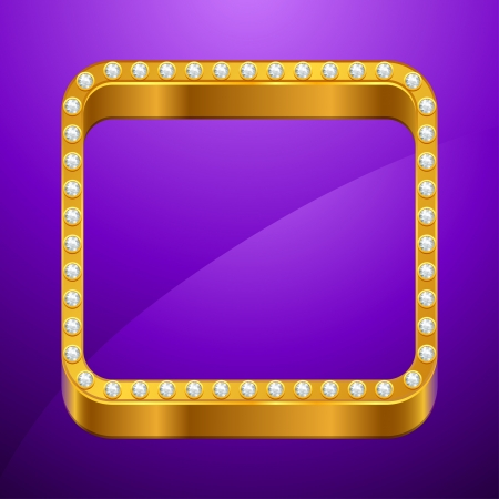 Abstract background with gold frame and jewels  Vector