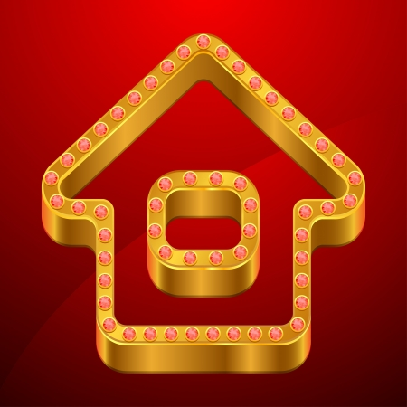 luxury homes: Abstract background with gold house and jewels