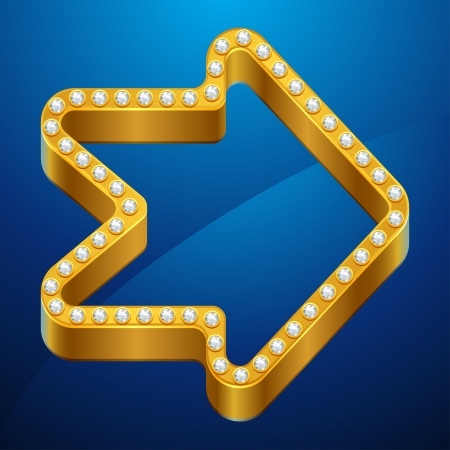diminishing point: Abstract background with gold arrow and jewels