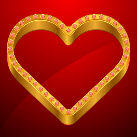 Valentine background with gold heart and jewels  Vector